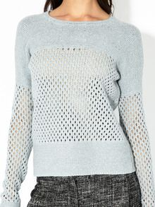 Cotton knit sweater  Perforated crochet panel inserts at bodice and sleeves, ribbed trim