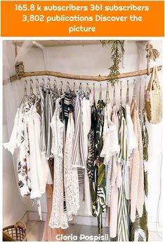 ▷ 1001 ideas for dressing room furniture that will decorate your .- Make your own dressing room cheap, clothes rail made of driftwood, hanging clothes in white color and small wicker bag - Home Accessories Stores, Wall Accessories, Room Decor For Teen Girls, Diy Casa, Dressing Room, Room Decor Bedroom, Bedroom Ideas, Room Inspiration, Inspiration Design