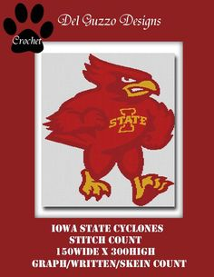 Iowa state cyclones inspired blanket Crochet Graph Graphghan Pattern WITH WRITTEN INSTRUCTIONS by DelGuzzoDesignStudio on Etsy