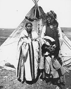 Poundmaker and his fourth wife - Cree - before 1886