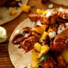 Tacos al Pastor Recipe...omg best tacos ever!! Just seeing this picture makes me want to go get some.