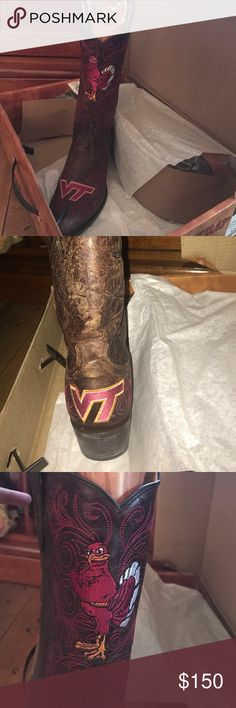 Virginia tech Gameday cowboy boots These are new in box! Never worn Gameday Cowboy boots for woman size 8 these are not Justin brand but Poshmark did not have the Gameday brand listed Justin Boots Shoes Combat & Moto Boots