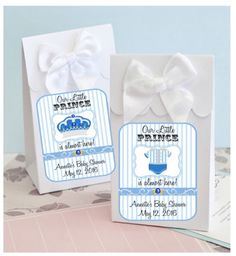 Personalized Little Prince Design Baby Shower Boxes With Bows (set of 12 - boils down to $1.50 each!)