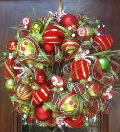 Very Whimsical Christmas Wreath by HertasWreaths on Etsy, $145.00