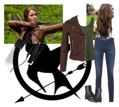 """""""Katniss Everdeen (The Hunger Games)"""" by lovethecountry ❤ liked on Polyvore featuring AG Adriano Goldschmied, L'Agence, Miss Selfridge and Madden Girl"""
