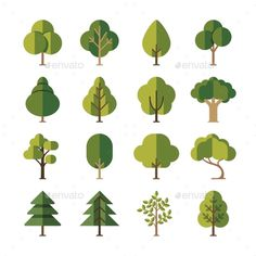 Green Summer Forest Tree Flat Vector Icons by MicrovOne Green summer forest tree flat vector icons. Pine and oak, evergreen plant illustration