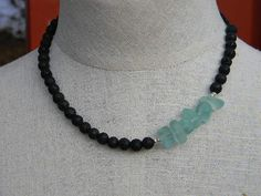 Lava stone and beach glass necklace by juRnE on Etsy, $45.00