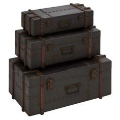 Check out this item at One Kings Lane! Bailey Wood Trunks, Set of 3