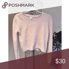 Blush Pink Fuzzy Cropped Sweater Super cute sweater that's a neutral color which'll go with everything Sweaters Crew & Scoop Necks