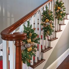 Beautiful Christmas Stairs Decoration Ideas - It's Christmas again, and you're looking at the stacks of decorations you put away last January. It can seem like quite a challenge, especially if you. Christmas Stairs Decorations, Hanging Christmas Lights, Beautiful Christmas Decorations, Christmas Swags, Noel Christmas, Simple Christmas, Holiday Decorations, Christmas Greenery, Christmas Decor For Stairs