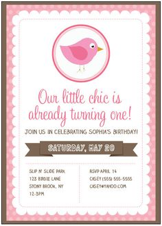 Bird Themed Birthday Party Invitation Pink by getthepartystarted