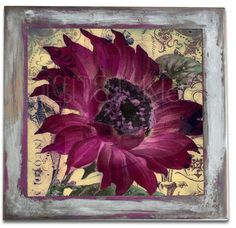 Tumbled Porcelain Original Art Tile with Hand-Painted Shabby Frame-Vintage Victorian Sunflower