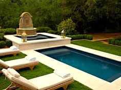 Outdoor Ponds, Water Features and Water Gardens: The large French limestone fountain offers a dramatic touch to balance the clean lines of the pool. The running water offers a peaceful sound, and pumps are used to re-circulate the water.  From DIYnetwork.com