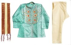 Bead Work and Saffron Stone Studded Cyan Green Kurta, Beige Pyjama and Maroon with Beige Net Chunni (Art Silk)
