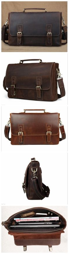 Vintage Style Genuine Cowhide Leather Briefcase Messenger Bag Laptop Briefcase