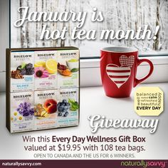 Renewing your commitment to better health in 2017. January is Hot Tea Month & Bigelow Tea is giving away 6 prizes of their new Benefits Tea. Enter to win here.