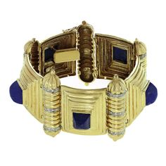 1970s Greek Diamond Lapis Lazuli Yellow Gold Solid Link Bracelet | From a unique collection of vintage link bracelets at http://www.1stdibs.com/jewelry/bracelets/link-bracelets/