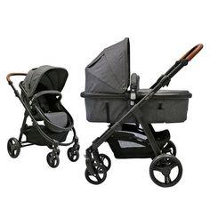 Preiswerter Kombi-Wagen mit Babywanne, Sportwagenaufsatz mit verstellbarer Rückenlehne und gefederten Luftkammerrädern. Knorr Baby #Kinderwagen Volan