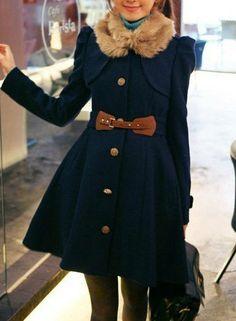 Blue Women Wool Outerwear / Women Wool Overcoat /Women Blazer/ Women Winter Coat/  Women jacket / Sku1029 on Etsy, $59.00