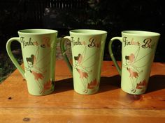 Disney 16 Ounce Lime Green Coffee Mugs With Silver Tinkerbell