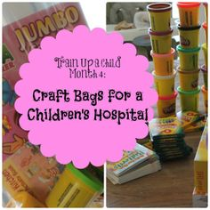 Kids Service Activity: Assembling craft bags for a children's hospital.