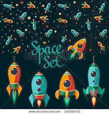 Seamless pattern of space, rocket and stars. Kids elements for scrap-booking. by motuwe, via ShutterStock Cartoon Spaceship, Alien Spaceship, Astronaut Illustration, Space Illustration, Rocket Tattoo, Aviation Theme, Rockets For Kids, Rocket Design, Kids Prints
