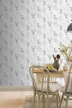 Linear illustrations of a stag amongst tall trees and branches; filled with detail and depth in an etched effect. Head over to WallpaperDirect now to order your samples today! Stag Wallpaper, Animal Wallpaper, Wishbone Chair, Textile Patterns, True Colors, Branches, Home Art, Trees, Illustrations