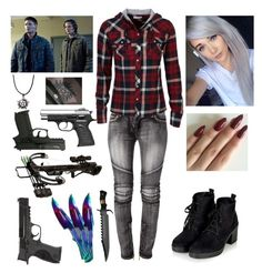 """""""Hunting with the Winchesters"""" by juju-mari-pie ❤ liked on Polyvore featuring Balmain, dELiA*s, Topshop and Smith & Wesson"""