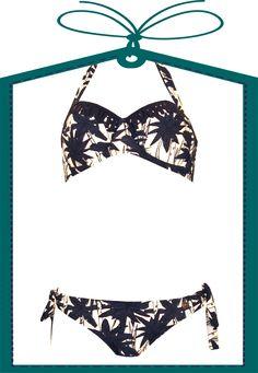 Neckholder Bikini Beachlife blau gemustert