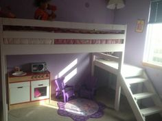 Camp Loft Bed with side stairs and landing | Do It Yourself Home Projects from Ana White