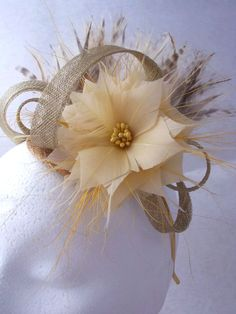 3fe056a9958 Fascinator hat gold cream and soft yellow by Spirit of Harlequin