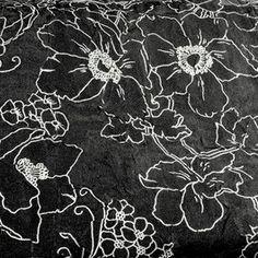 Stoff BURNOUT BLACK & WHITE Ansicht AUSBRENNER BLUME