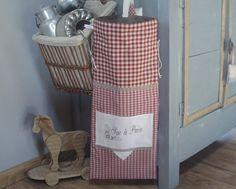 Sac à pain shabby campagne à carreaux rouge dentelles de lin et inscription brodée : Autres sacs par rouge-lin-et-bois
