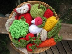 most of Violet's toys are food. crochet fruit and veg!