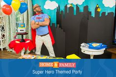 Super Hero Themed Birthday Party - @kennethwingard DIYs everything from the invitations to the activity center! Tune in to Home and Family weekdays at 10/9c on Hallmark Channel!