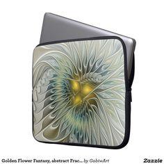 Golden Flower Fantasy, abstract Fractal Art Laptop Computer Sleeve