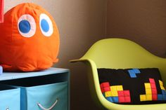 Video Game Nursery with Pacman Ghost Pillow and Tetris Pillow @Project Nursery | Junior