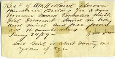 Reciept for sale of Permelia, an African-American   slave woman