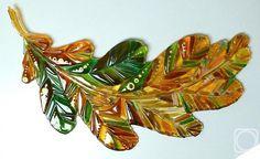 "Repina Elena. Fusing-panel ""Oak Leaf"" glass"