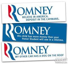 Mitt Romney bumper stickers    Presidential Election 2012