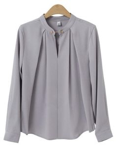 Plus Size Formal Gray Pleated Blusas Spring Women Casual Oversize Slim Blouse Tops 2018 Full Sleeve Ladies Blouses Light Gra Formal Blouses, Formal Shirts, Formal Tops For Women, Mode Outfits, Fashion Outfits, Ladies Fashion, Fashion Ideas, Camisa Formal, Blouse Models