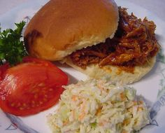 This meal is one we always eat too much of. I recommend using Sweet Baby Rays or Jack Daniels original BBQ sauce. A good quality sauce makes a lot of difference. I serve it with my Sweet, Creamy Coleslaw #100526.