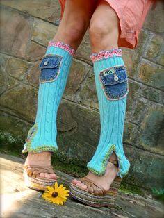 RESERVED Custom order Boho Urban Chicks LEG Warmers by GPyoga