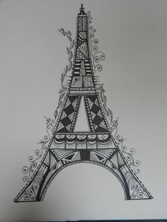 I created my own Eiffel Tower, months ago. oh well! this Eiffel Tower Zentangle-inspired Art by on Etsy Mandala Art, Mandala Drawing, Mandala Design, Zentangle Drawings, Art Drawings Sketches, Zentangles, Zentangle Patterns, Eiffel Tower Drawing, Tangle Art