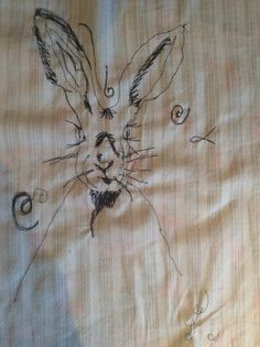 Free motion embroidery Hare on cotton