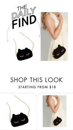 """""""The Daily Find: Black Cat Crossbody Bag"""" by polyvore-editorial ❤ liked on Polyvore featuring WithChic and DailyFind"""