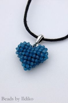 Swarovski 3D heart pendant using 3 mm sw.bicones