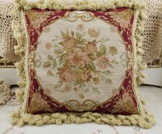14-Vintage-Handmade-Red-Floral-Needlepoint-PETIT-POINT-Pillow-Cushion