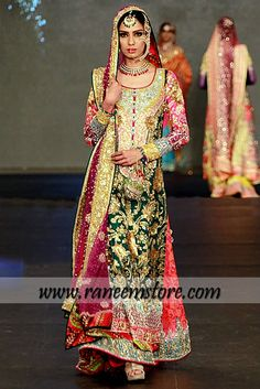 Nomi Ansari Bridal Dresses 2014 Collection at PFDC Buy Online $1360.00 This chiffon bridal long shirt in Green has stunning embellishment all around the neckline. Buttoned detailing at front. Beautiful floral work has been embellished all over the front and sleeves. Full