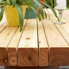 The DIY patio table is made using lengths of 32mm and 69mm PAR pine beams. The pine tabletop is supported on 44 x 67mm pine cross beams mounted underneath. Shop around for th best prices on these, as they can be pricey if you don't buy direct from a timber merchant. - See more at: http://www.home-dzine.co.za/garden/garden-patio-transform.htm#sthash.TxU4EOQC.dpuf
